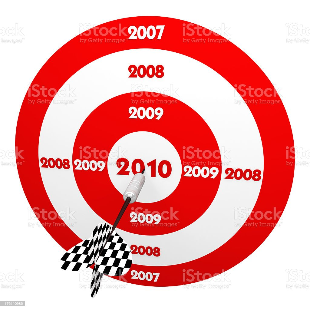 3D Dart in Center of Red 2010 years Target royalty-free stock photo