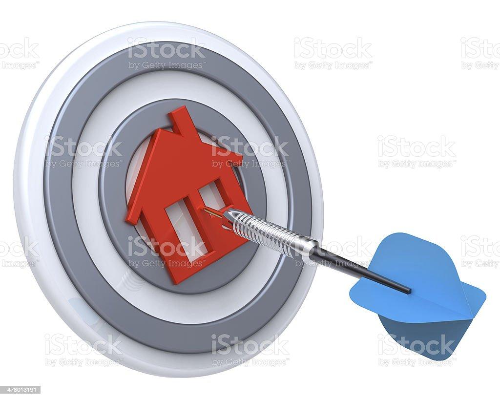 Dart on house target. stock photo