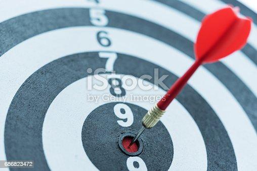 istock Dart target arrow hitting on bullseye with sun light 686823472