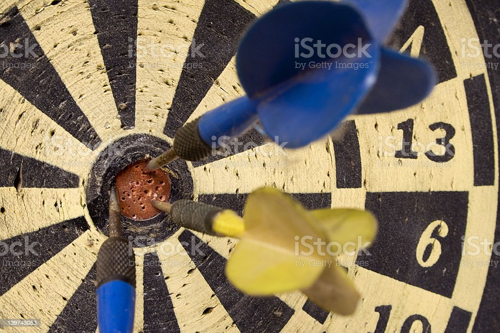 Dartboard – Front View on Bulls Eye stock photo