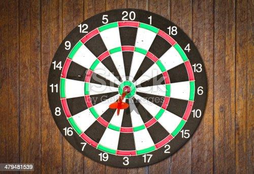 istock Dartboard on wood wall (Darts Hit Target) 479481539