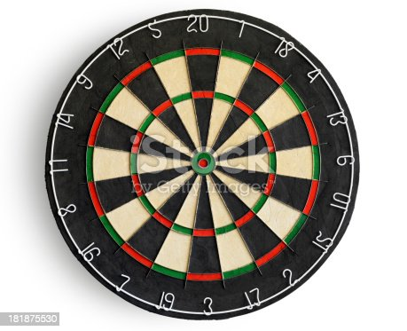 Dartboard isolated on white. Clipping path included.