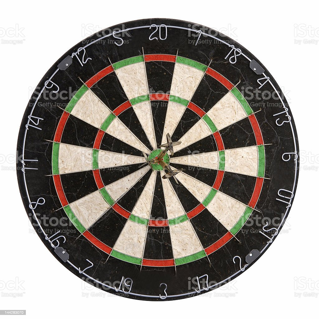 Dartboard with three darts in bullseye on white stock photo