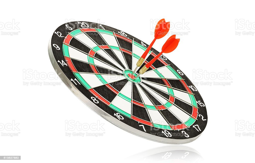 dartboard wth darts stock photo
