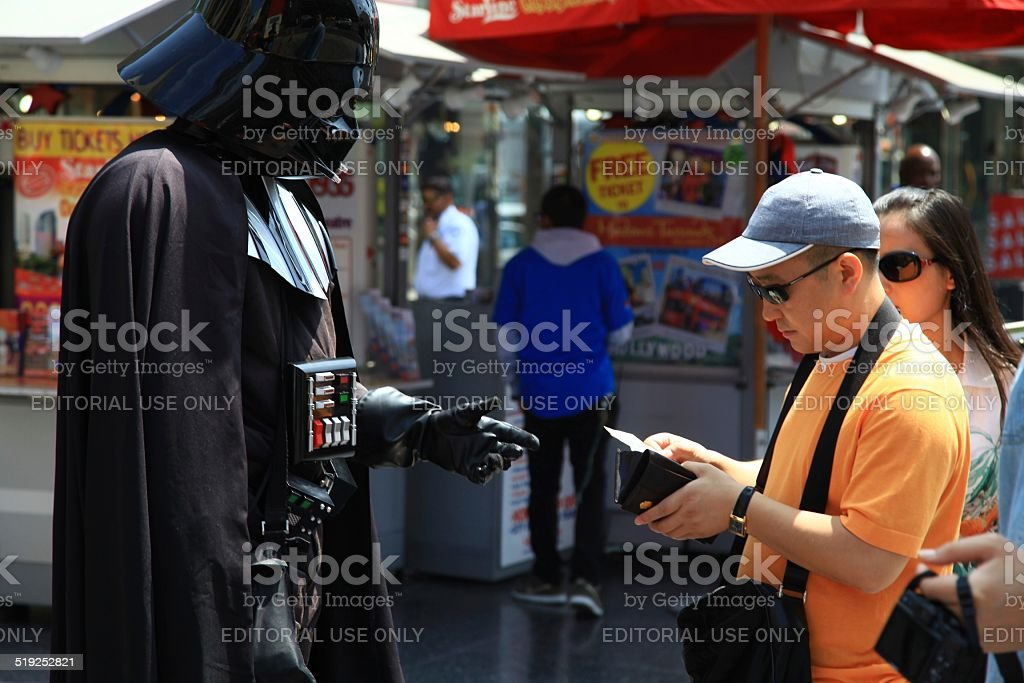 Darth Vader Actor in front of Chinese Theater, Los Angeles stock photo