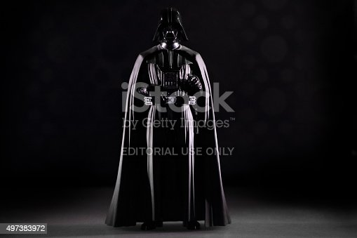 istanbul, Turkey - November 1, 2015: Portrait of  the Star Wars movie character action figure Darth Vader.