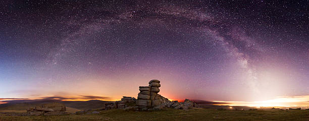 dartmoor at night - outcrop stock pictures, royalty-free photos & images