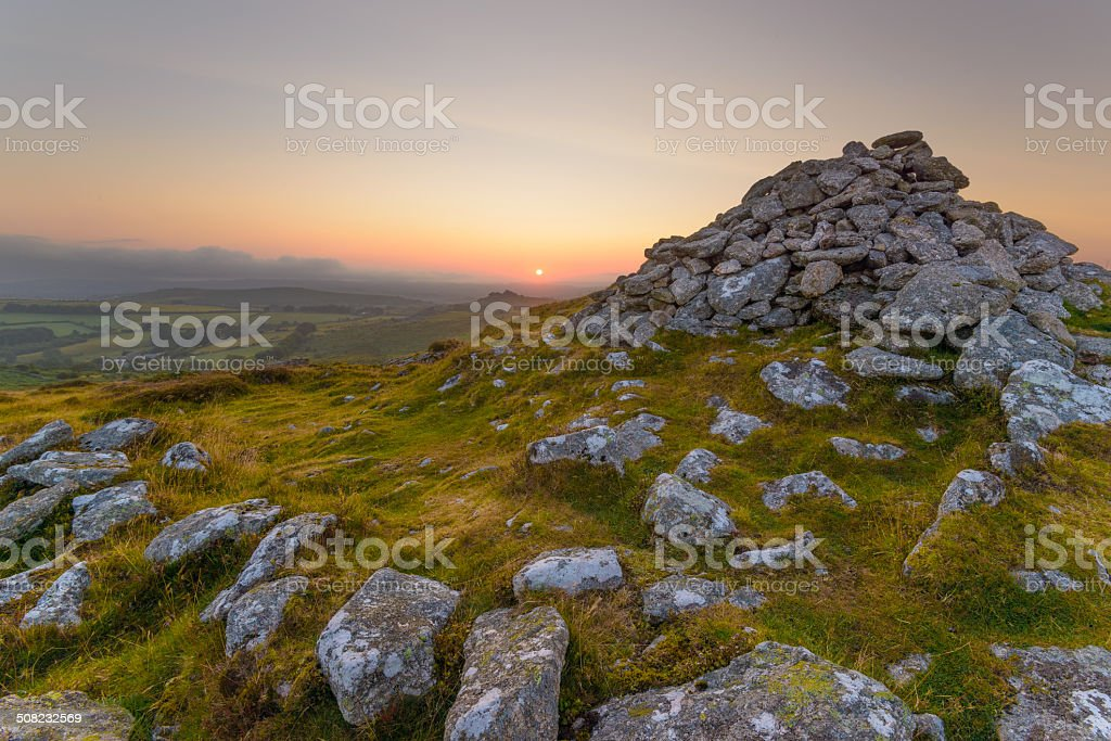 Dartmoor cairn stock photo