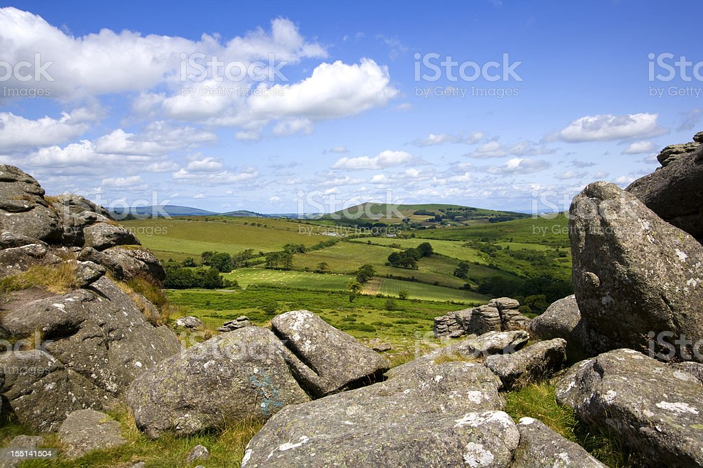 Dartmoor countryside from Hound Tor, Devon, UK stock photo