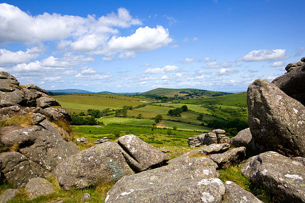 dartmoor countryside from hound tor, devon, uk - outcrop stock pictures, royalty-free photos & images