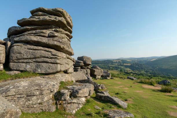 dartmoor, devon england - outcrop stock pictures, royalty-free photos & images