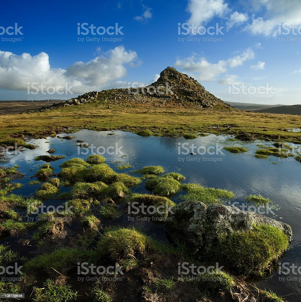 Dartmoor Tor and Small Tarn Landscape stock photo