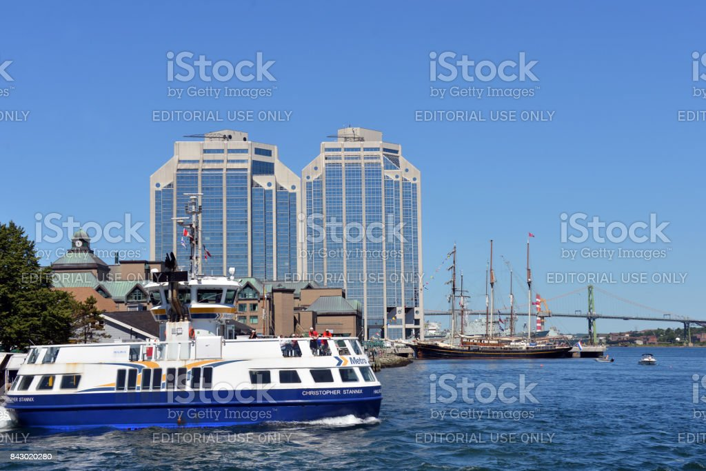 Dartmouth and Tall Ships in Halifax Harbour stock photo