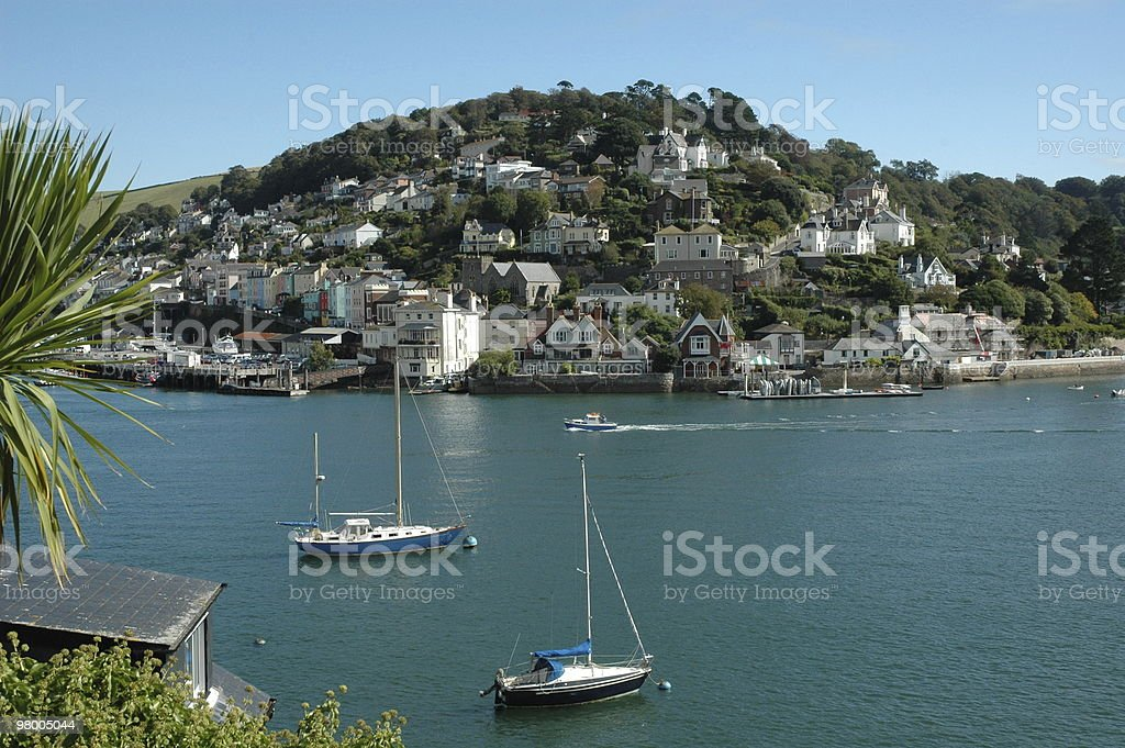 Dartmouth Harbour with two boats royalty-free stock photo