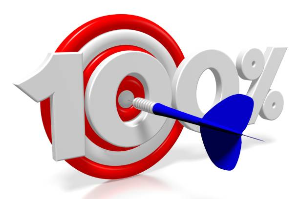 3d darts - 100 % - nummer 100 stock-fotos und bilder