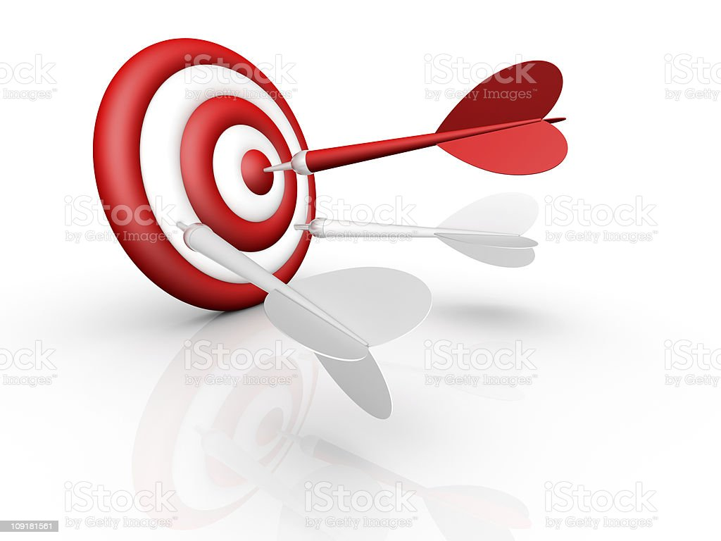 darts and target isolated on white royalty-free stock photo