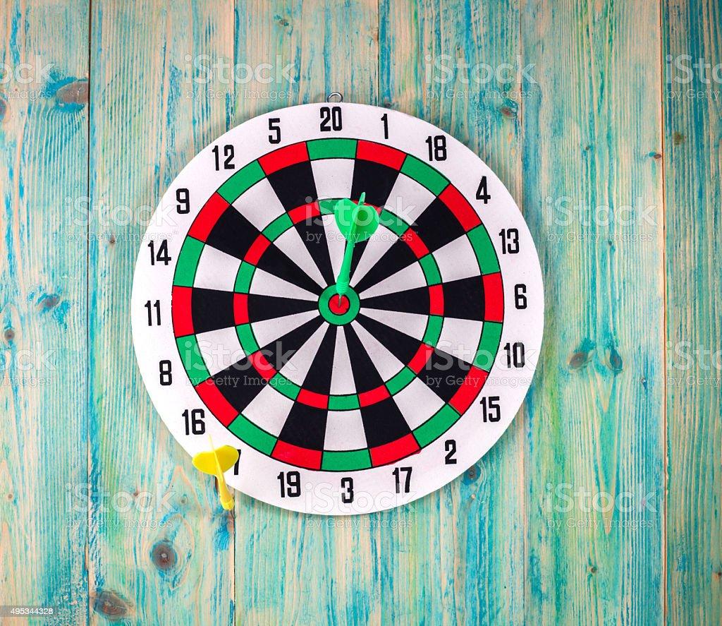 Darts Board with Twenty Black and White Sectors stock photo