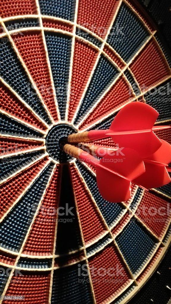 Darts - Bulls eye shots stock photo