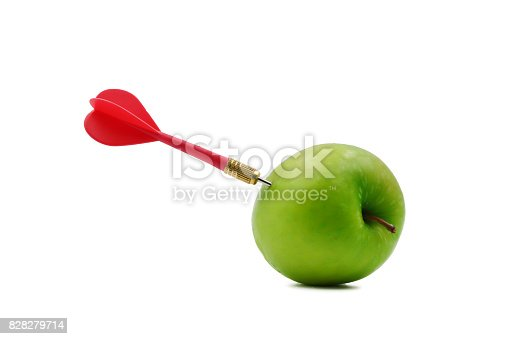 istock Darts embroidered on green apples on white background. 828279714