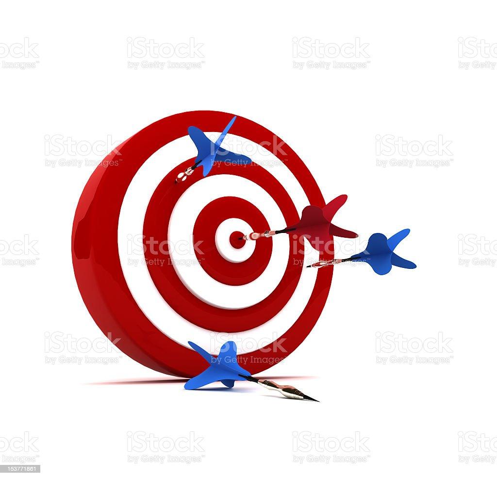 Darts hit the target royalty-free stock photo