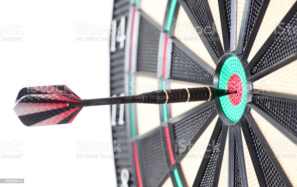 Darts hits bulls eye royalty-free stock photo