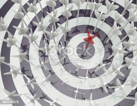 826378430istockphoto Darts hitting a target -concept 504736379