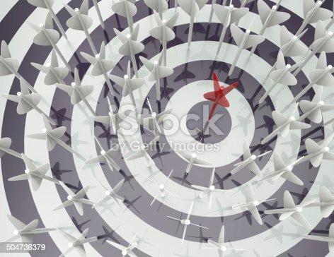 istock Darts hitting a target -concept 504736379