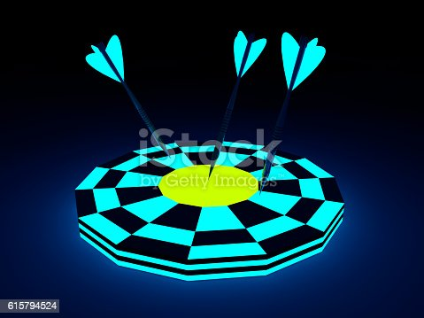 istock Darts Hitting A Target,glowing concept 615794524