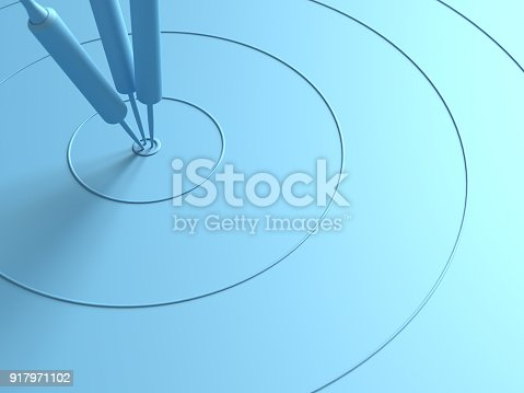 istock Darts hitting in the target center with copy space for your text 917971102