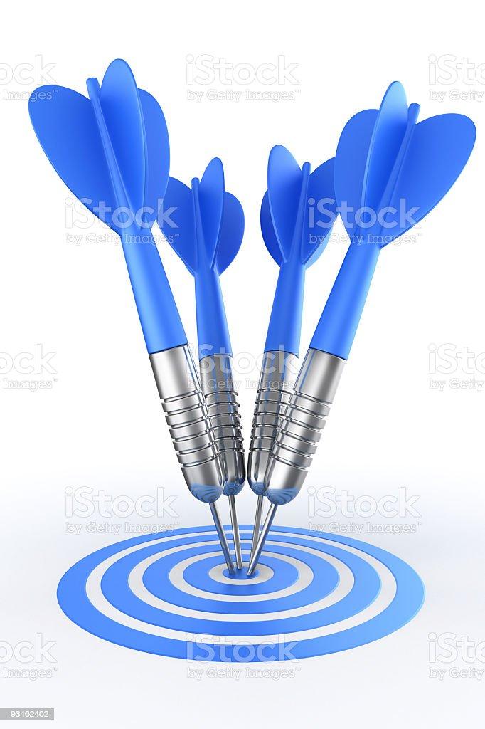 Darts hitting target stock photo