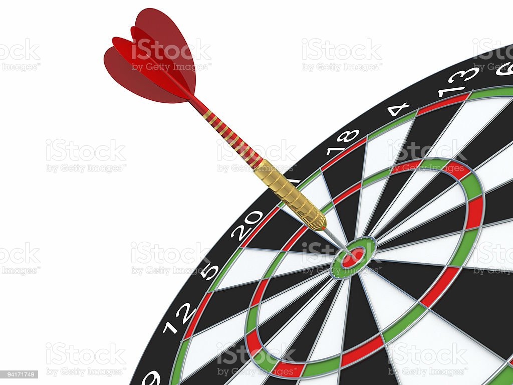 Darts in bull's-eye royalty-free stock photo