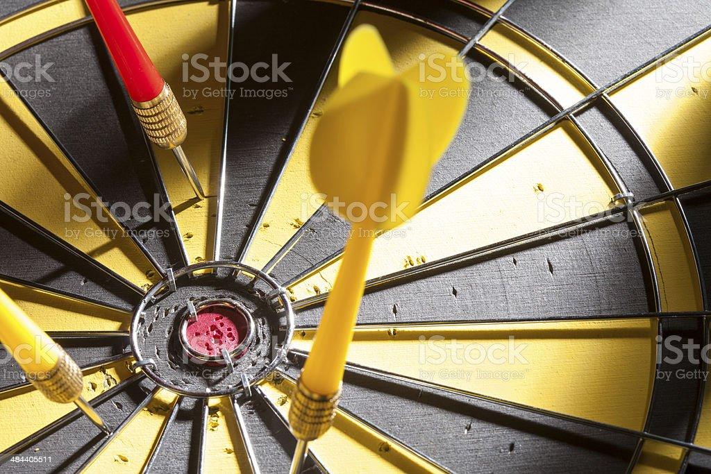 darts missing bull's-eye stock photo