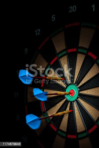 istock darts stuck in an electronic dartboard 1174876643