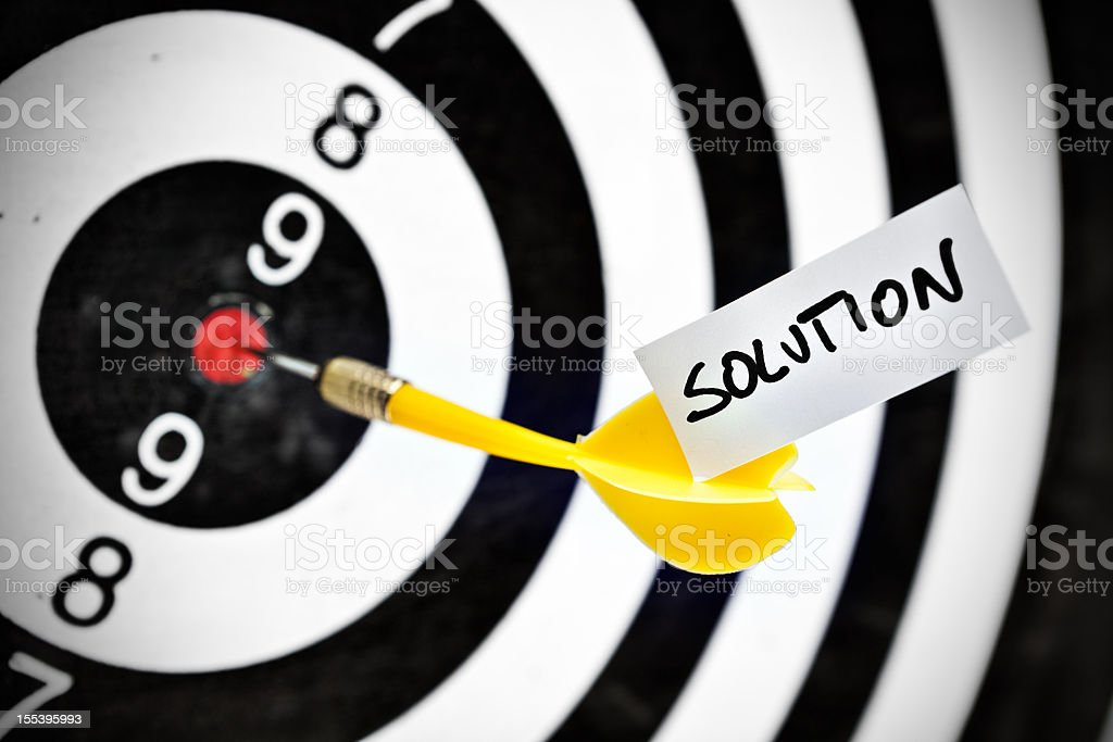 Darts target concept: solution royalty-free stock photo