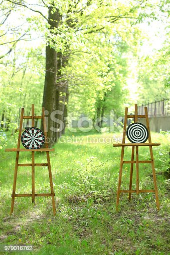 istock Darts targets on wooden easels in forest 979016762