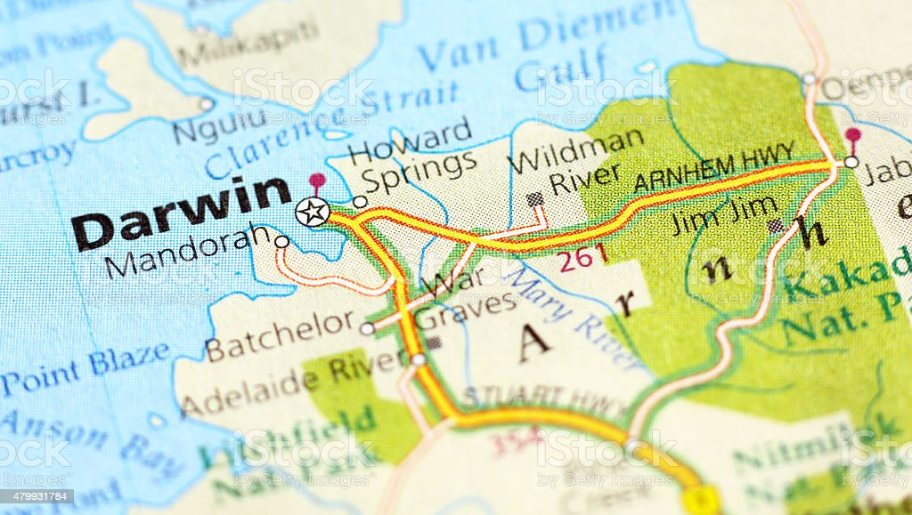 Darwin area in a map stock photo