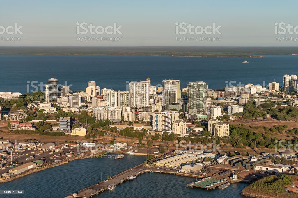 Darwin city aerial from Fishermans Wharf stock photo