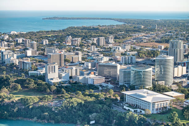 darwin city aerials - darwin stock photos and pictures