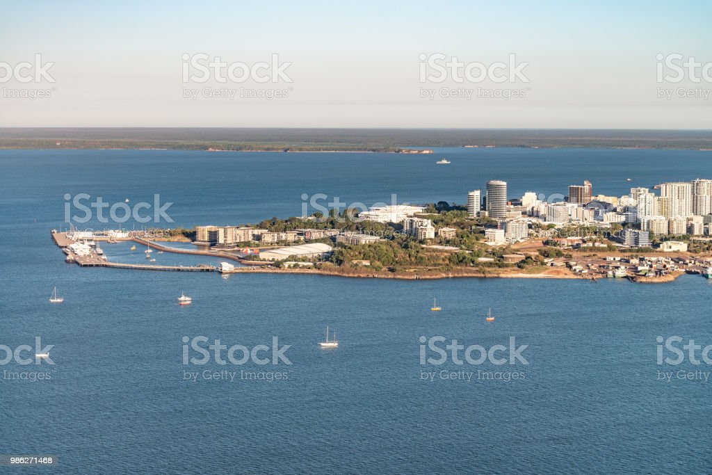 Darwin Waterfront from the air stock photo