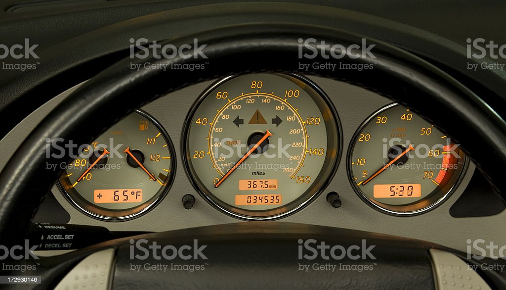 Dash board with glowing gauges royalty-free stock photo