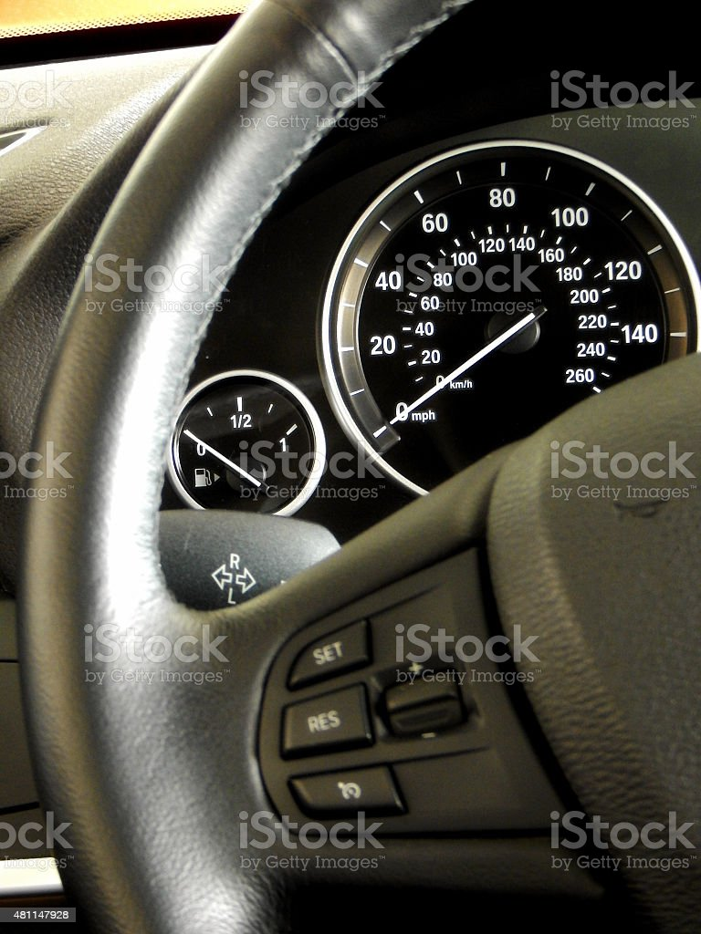 Dashboard and controls on steering wheel stock photo
