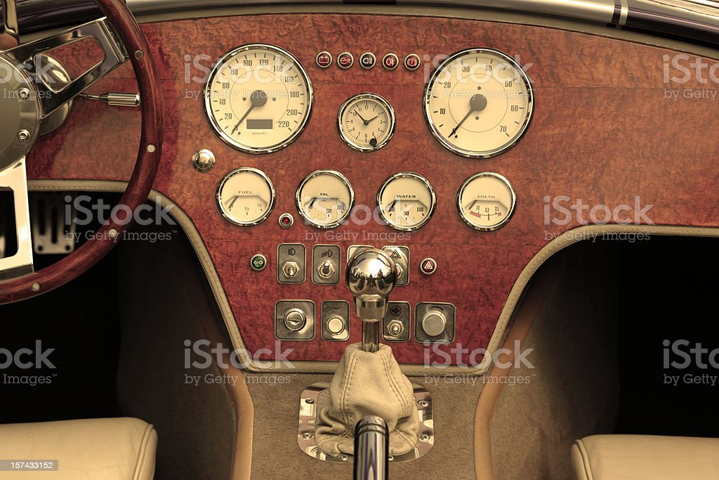 Dashboard and steering wheel of collectors car stock photo
