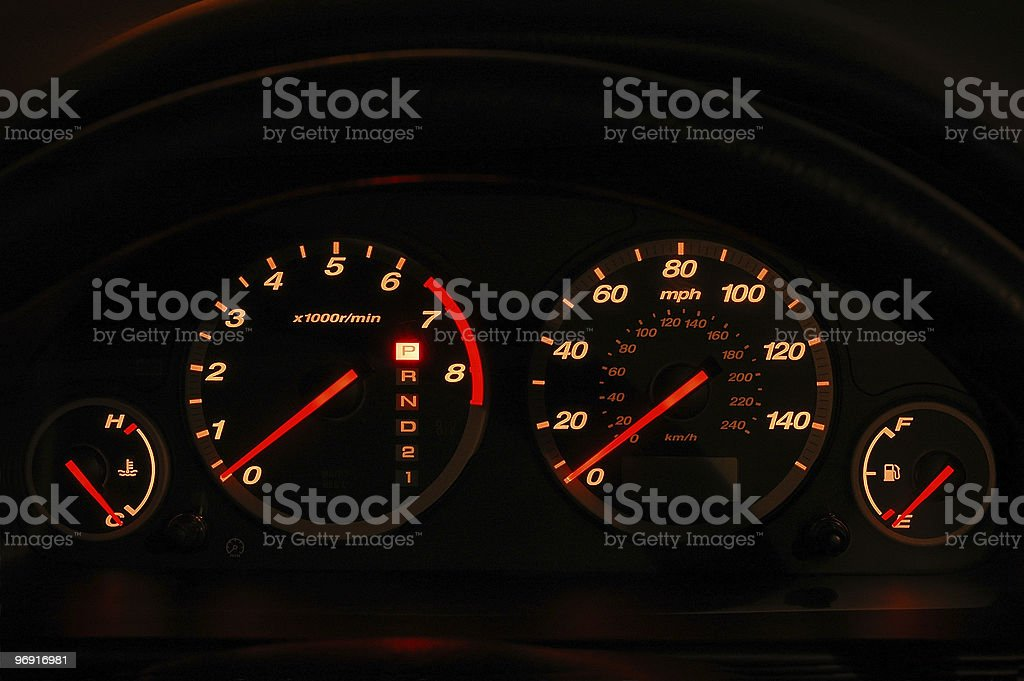 Dashboard at Night royalty-free stock photo
