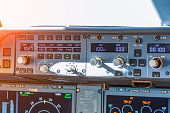 Dashboard autopilot parameters in a passenger airliner plane, close up view