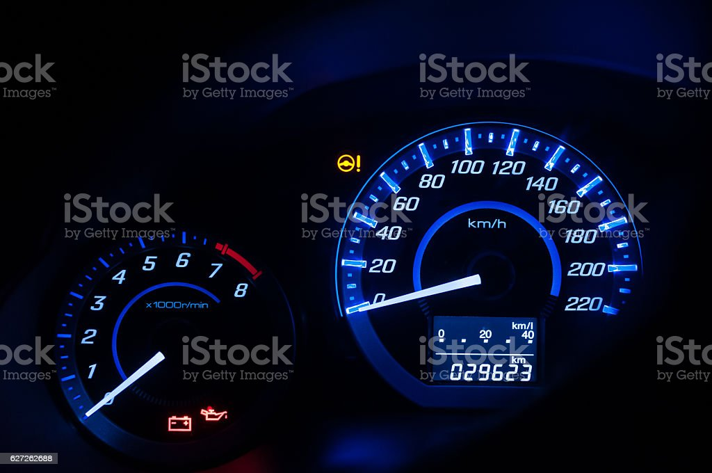 Dashboard ,Car speedometer and counter with dark mode stock photo