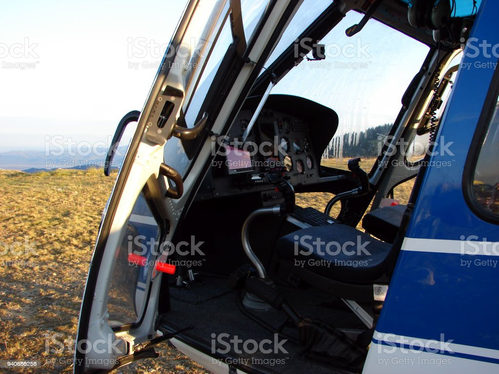Dashboard helicopter stock photo