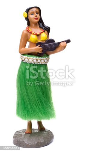 Dashboard hula dancer figurine isolated on white.Please Also See: