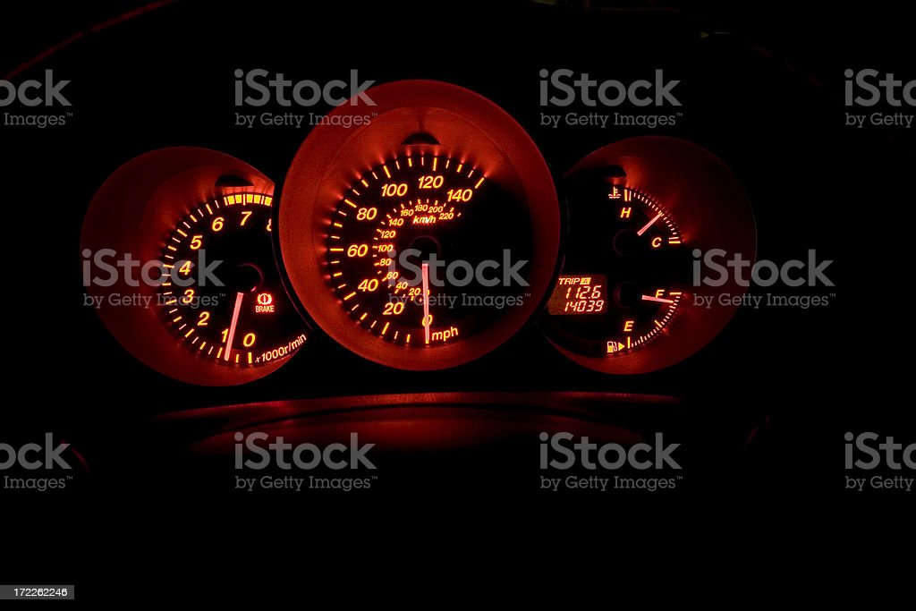 Dashboard in darkness royalty-free stock photo