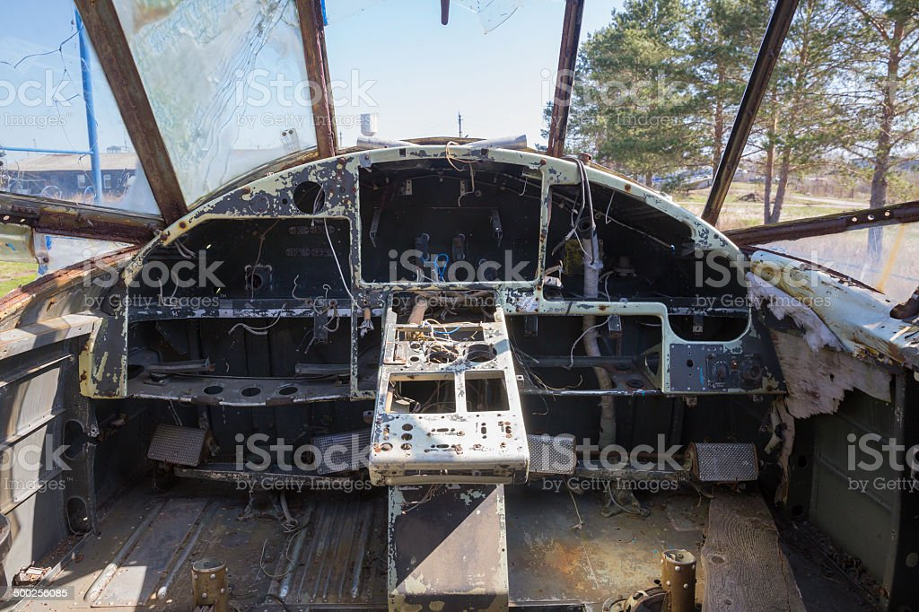 Dashboard Inside Old Airplane Cockpit Stock Photo - Download