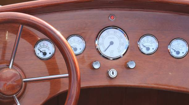dashboard of a classic vintage speedboat - dashboard vehicle part stock photos and pictures